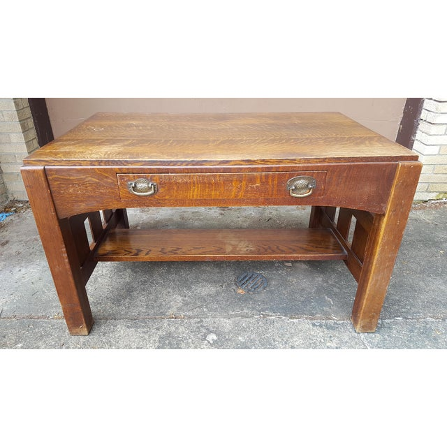 Mission oak arts crafts library table desk chairish for Art and craft workstation