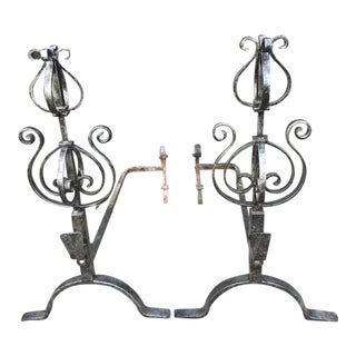 Wrought Iron Fire Dogs - A Pair