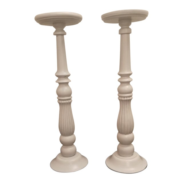 White Wooden Plant Stands - Image 1 of 6