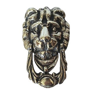 Antique English Heavy Brass Lion Head Door Knocker