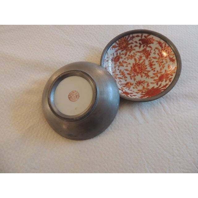 Vintage Imari Dishes Encased in Pewter - A Pair - Image 3 of 4