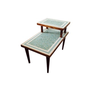 Mid-Century Two-Tiered Tile End Table