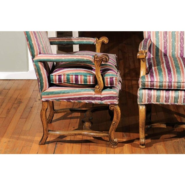 Striped Italian Bergere Chairs - A Pair - Image 3 of 6