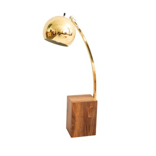 Mid Century Modern Style Wood and Brass Lamp
