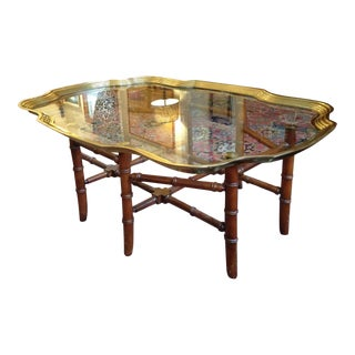 Baker Glass & Brass Tray Coffee Table With Faux Bamboo Base