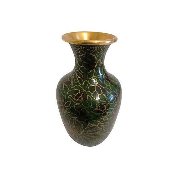 Image of Vintage Chinese Cloisonné Black & Green Vase
