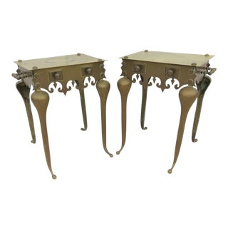 Brass Footman Style Side Table - A Pair