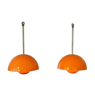 "Danish Orange ""Flower Pot"" Pendant Lamps - A Pair"