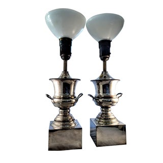 Antique Silver Plated Urn Lamps - A Pair