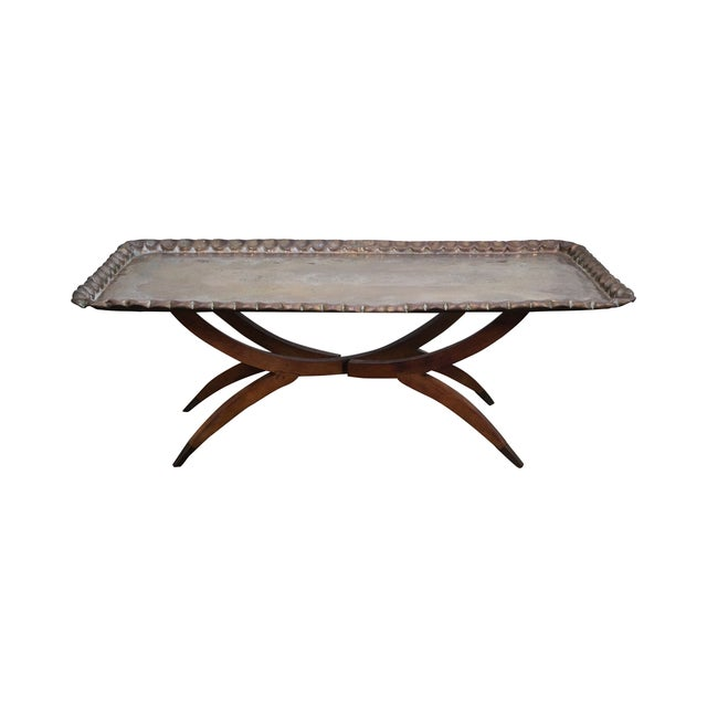 Incised Brass Scalloped Tray Top Coffee Table - Image 1 of 10