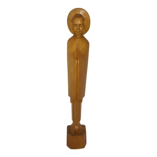 Tall Vintage Italian Praying Madonna Wood Carved Statue