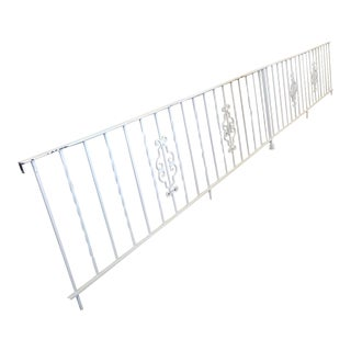 1950s Vintage White Wrought Iron 16 Foot Handrail Railing Gate