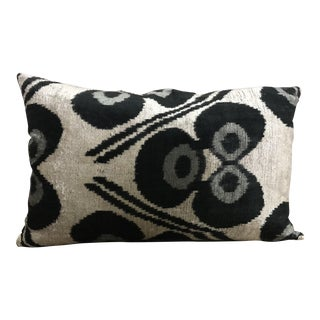 Silk Velvet Ikat Lumbar Pillow