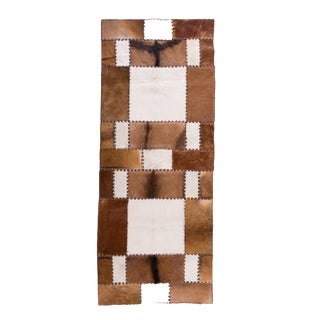 "Unique Handmade Cowhide Patchwork Hallway Runner - 6'8""x2'7"""