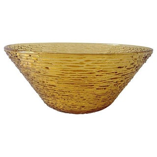 Bamboo-Style Amber Salad Serving Bowl