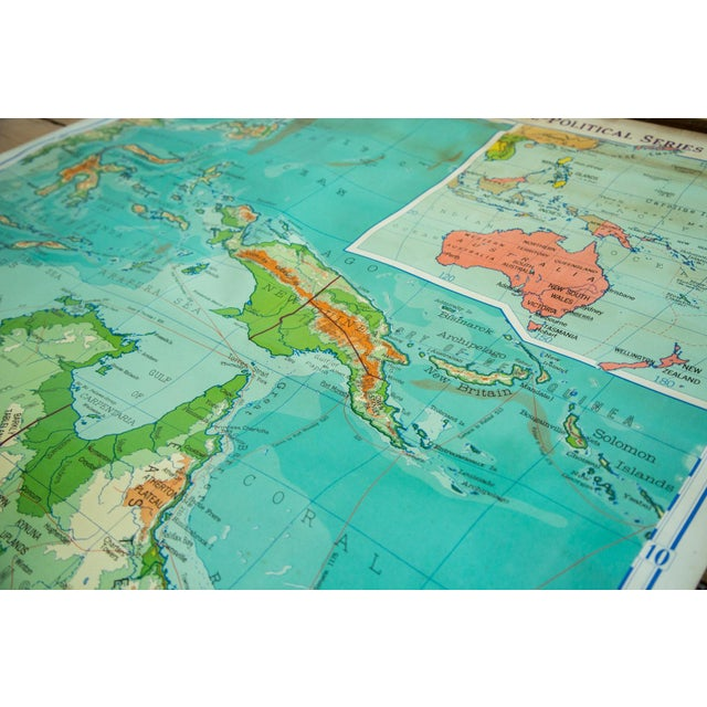 Image of Vintage Pull Down Map Of Australia And Phillipines