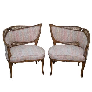 Vintage Sculptural Caned & Tufted Chairs - A Pair