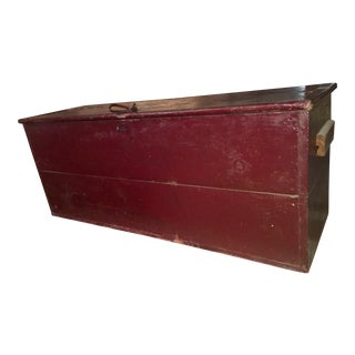 Large Antique Red Wooden Box W Iron Handles