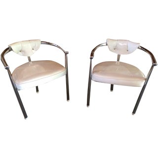 Mid-Century Chrome & Patent Leather Chairs - S/4