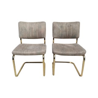 Cantilevered Brass Dining Chairs - Pair