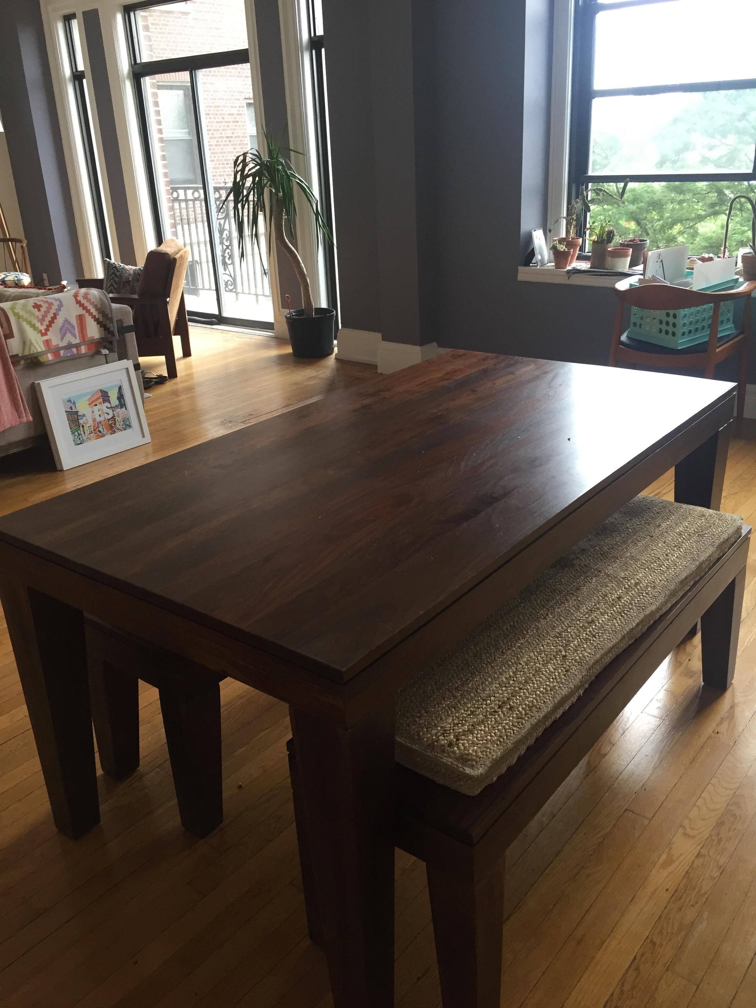west elm carroll farm kitchen table benches chairish