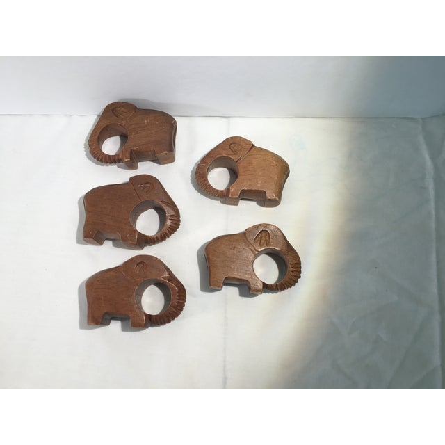 Image of Vintage Carved Elephant Napkin Rings - Set of5