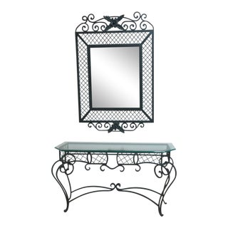 Ethan Allen Wrought Iron Glass Top Mirror & Console Table