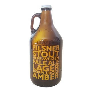 Mid Century Typographic Glass Brown Jug