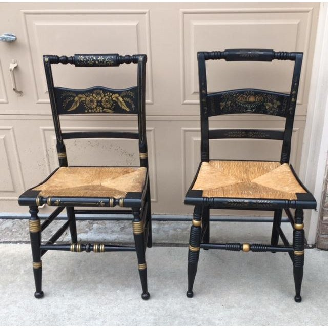 Hitchcock Style Painted Stenciled Rush Chairs - 2 - Image 2 of 9