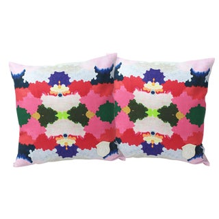 Colorful World Linen Pillows - A Pair