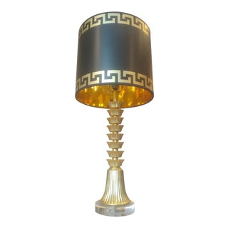Greek Key Giclee Design Black and Gold Drum Lampshade