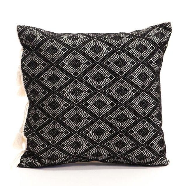 Black Diamonds Handwoven Pillow - Image 1 of 6
