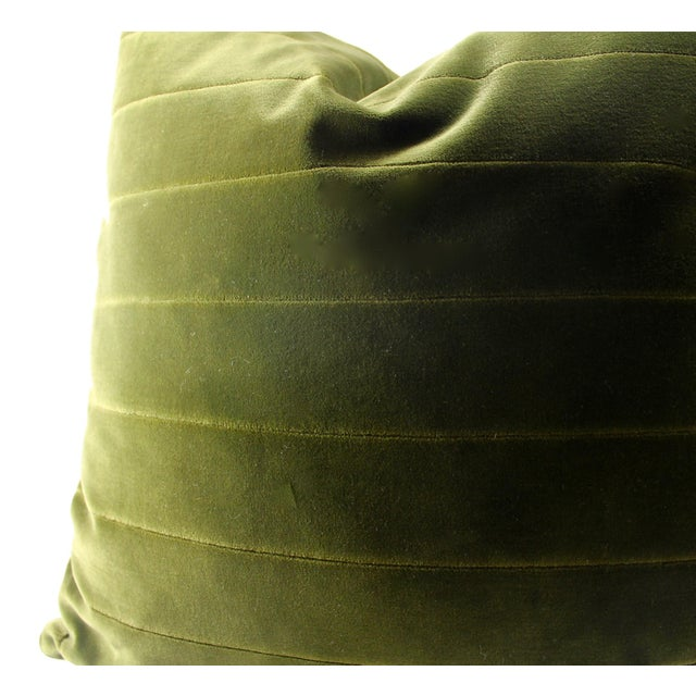 Donghia Green Italian Cotton Velvet Accent Pillow - Image 2 of 2