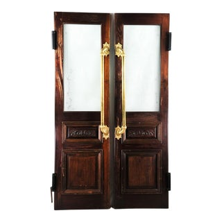 Vintage Double Hung Swinging English Oak Pub Doors - A Pair