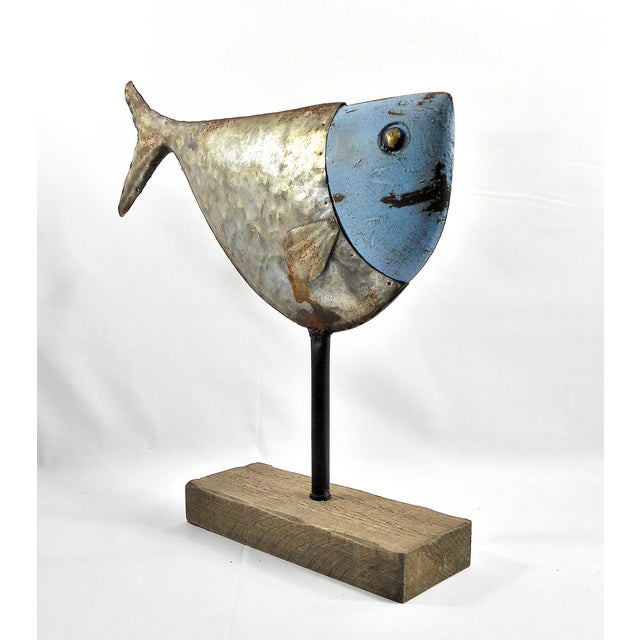 Metal Fish Sculpture on Stand - Image 3 of 6
