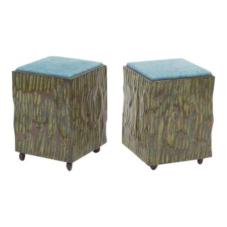 Phillip Lloyd Powell Painted Hand-carved Stools With Abstract Patterned Textile