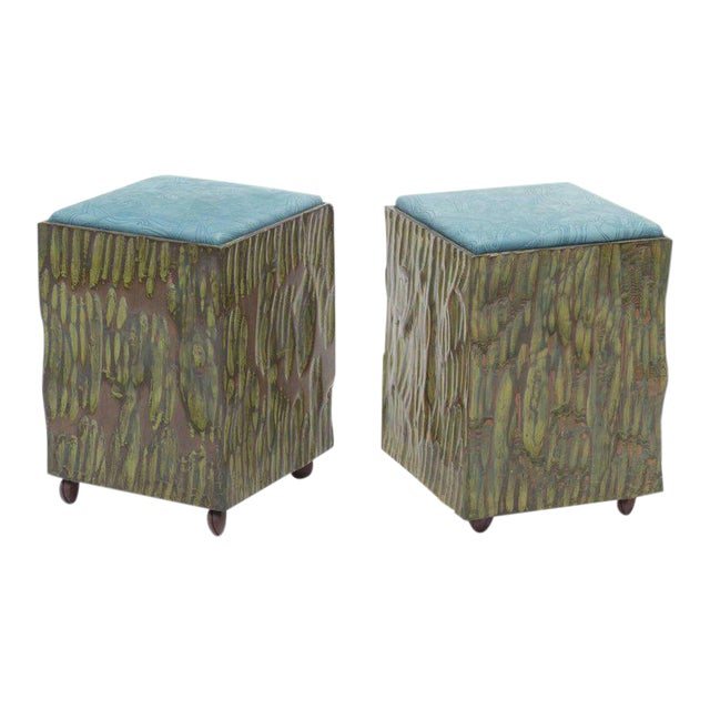 Phillip Lloyd Powell Painted Hand-carved Stools With Abstract Patterned Textile - Image 1 of 7