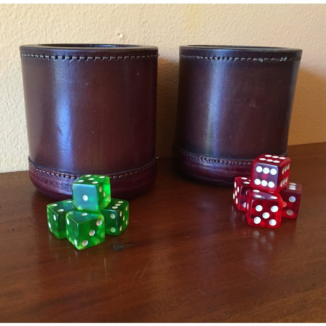 Leather Dice Cups with 8 Bakelite Dice - A Pair - Image 2 of 7