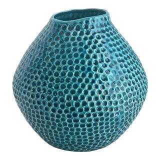 Organic Form Turquoise Ceramic Vase