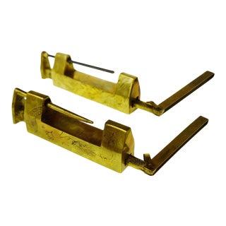 Asian Furniture Brass Locks w/ Keys - A Pair