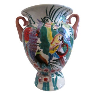 Majolica Tropical Bird Botanical Vase