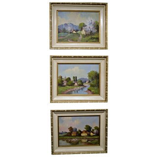 1950's Framed Canvas Triptych