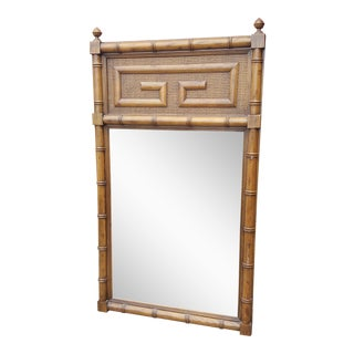 Hollywood Regency Faux Bamboo Greek Key Mirror