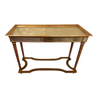 Hollywood Regency Mirrored Console or Sofa Table with Giltwood Barley Twist Legs