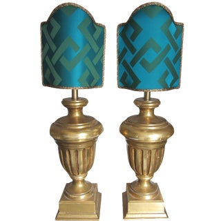 22-Karat Gold-Leaf Urn Lamps - A Pair