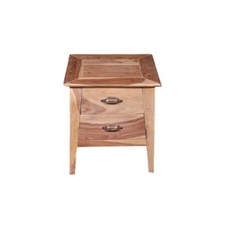 Wooden 2 Drawer Bedside Table