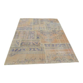Handknotted Overdyed Turkish Patchwork Carpet - 5′2″ × 7′8″
