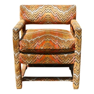 Milo Baughman Style Flamestitch Parsons Chair