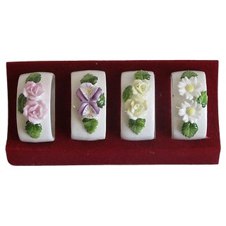 Vintage Royal Hampton Bone China Napkin Rings, Set of 4