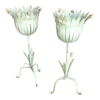 Tole Tulip Plant Stands - A Pair